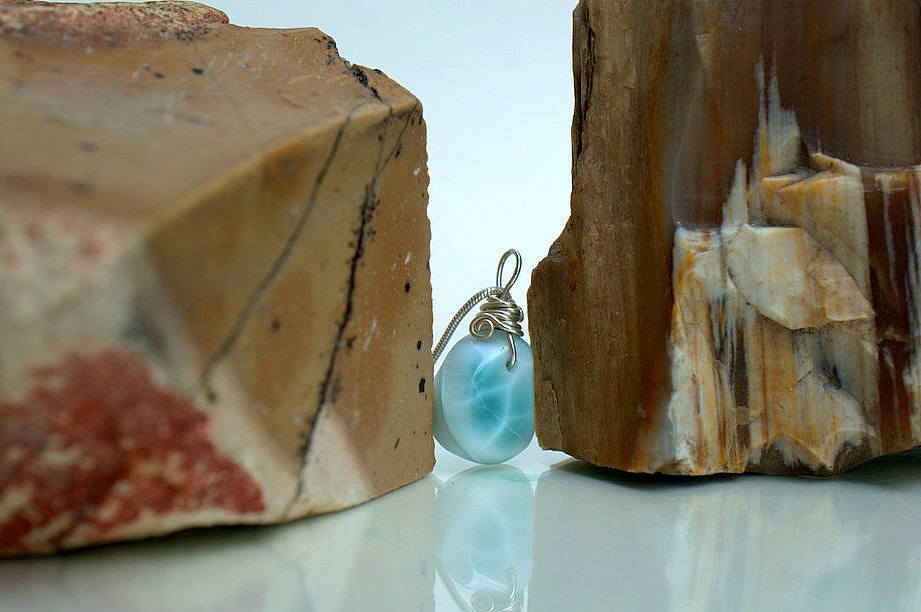 Dolphin stone, blue crystal, Larimar necklace