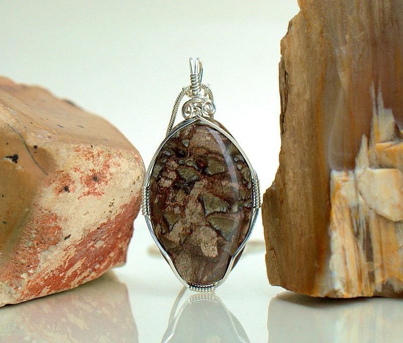 Large oval shape mushroom like pattern stone pendant