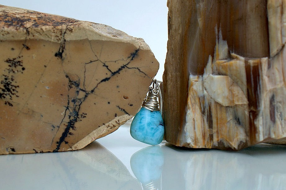 Genuine blue crystals, Dominican Larimar charm
