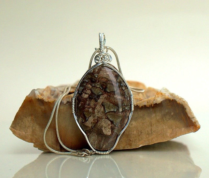 Mushroom Rhyolite large oval shape stone pendant