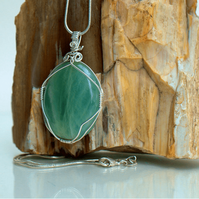 Green spiritual stone,natural Aquamarine pendant