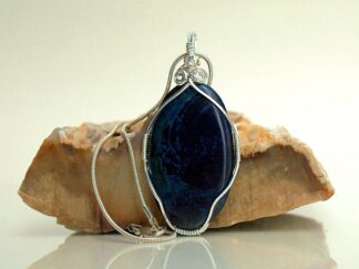 Large oval shape deep blue mineral pendant