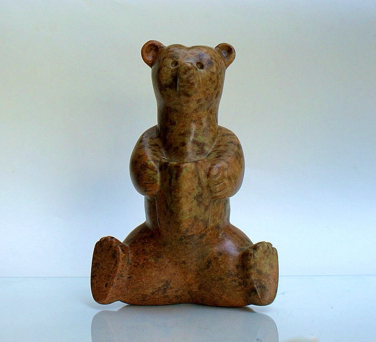 Fairy tale bear, hand carved soapstone figurine