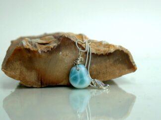 Sky blue gemstone Dolphin stone pendant