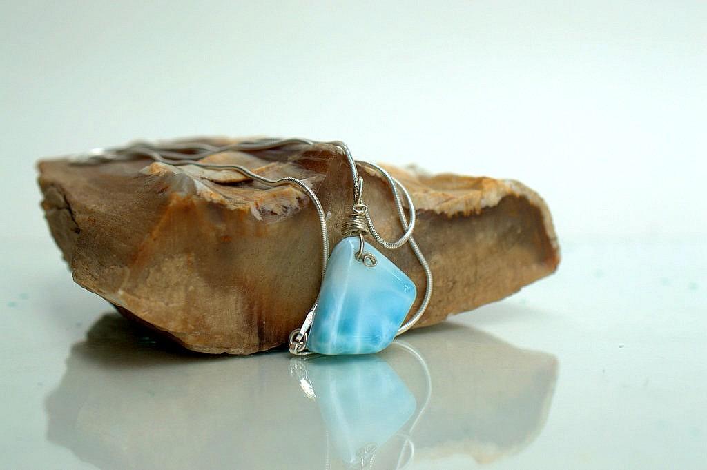 Larimar gemstone, natural blue crystal necklace