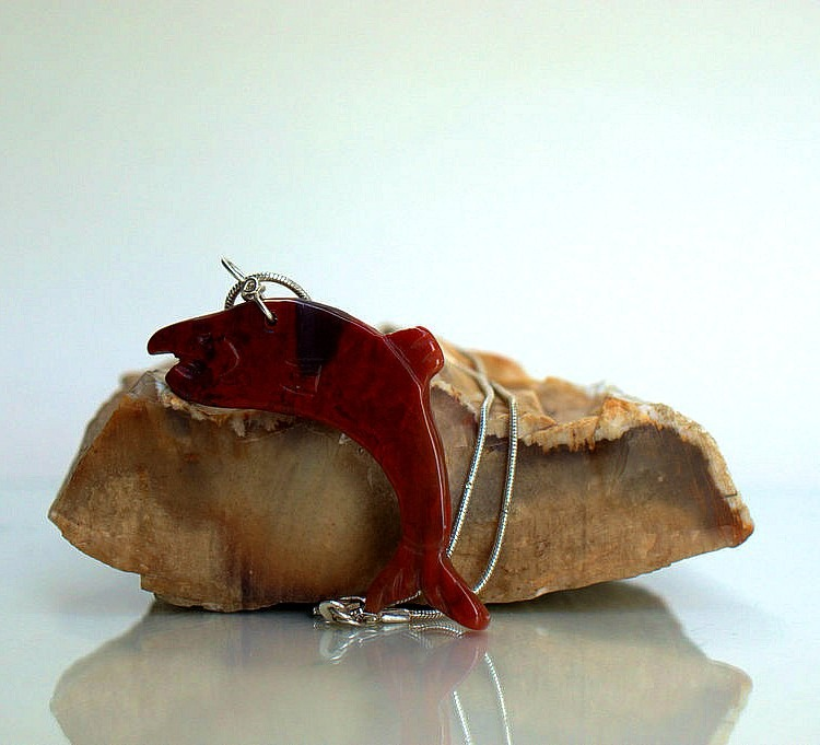 Red salmon, hand carved Jasper gemstone pendant