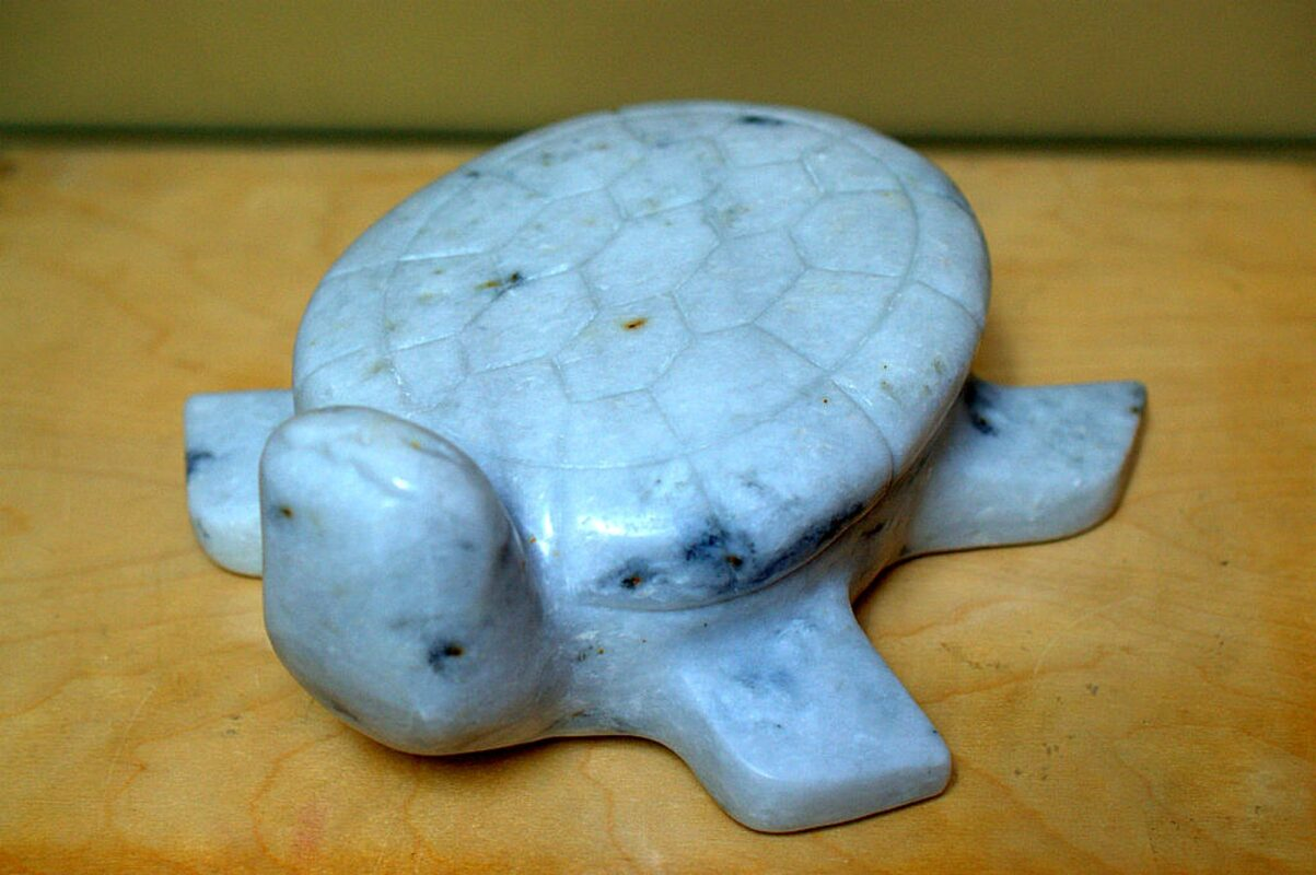 Marble stone carving, large turtle figurine