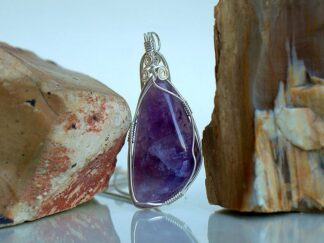 Deep purple Amethyst crystal pendant necklace