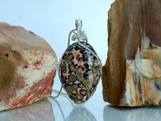 Silver wire wrapped leopard skin jasper necklace