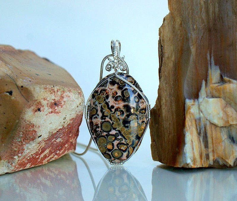 Silver wire wrapped leopard skin jasper necklace