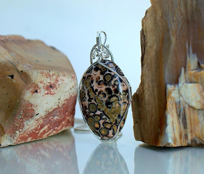 Leopard skin Jasper, handmade stone necklace