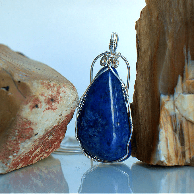 Blue natural mineral silver set jewelry