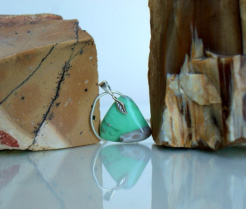 Apple green gemstone, Variscite charm necklace