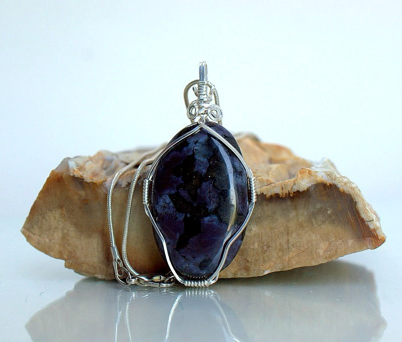 Purple mineral necklace, Indigo Gabbro pendant
