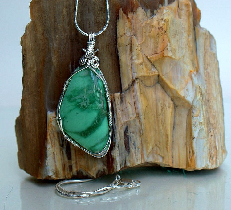 Courage booster stone Variscite pendant necklace