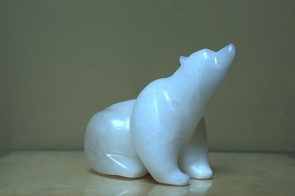 Sitting polar bear carving, Alabaster figurine
