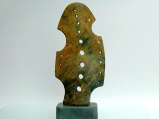 Small size green brown abstract sculpture
